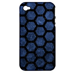 Hexagon2 Black Marble & Blue Stone (r) Apple Iphone 4/4s Hardshell Case (pc+silicone) by trendistuff