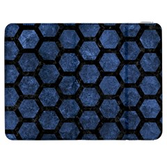 Hexagon2 Black Marble & Blue Stone (r) Samsung Galaxy Tab 7  P1000 Flip Case by trendistuff