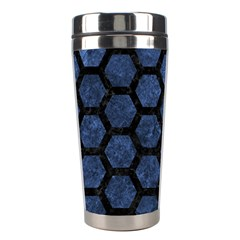 Hexagon2 Black Marble & Blue Stone (r) Stainless Steel Travel Tumbler by trendistuff