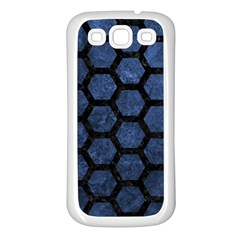 Hexagon2 Black Marble & Blue Stone (r) Samsung Galaxy S3 Back Case (white) by trendistuff
