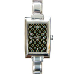 Peacock Inspired Background Rectangle Italian Charm Watch by Simbadda