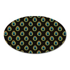 Peacock Inspired Background Oval Magnet by Simbadda