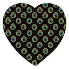 Peacock Inspired Background Jigsaw Puzzle (heart) by Simbadda