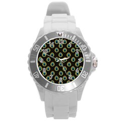 Peacock Inspired Background Round Plastic Sport Watch (l) by Simbadda