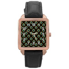 Peacock Inspired Background Rose Gold Leather Watch  by Simbadda