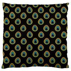 Peacock Inspired Background Large Flano Cushion Case (two Sides) by Simbadda