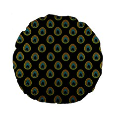 Peacock Inspired Background Standard 15  Premium Flano Round Cushions by Simbadda