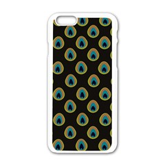 Peacock Inspired Background Apple Iphone 6/6s White Enamel Case