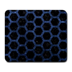 Hexagon2 Black Marble & Blue Stone Large Mousepad by trendistuff