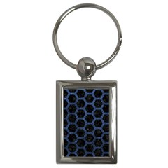 Hexagon2 Black Marble & Blue Stone Key Chain (rectangle) by trendistuff
