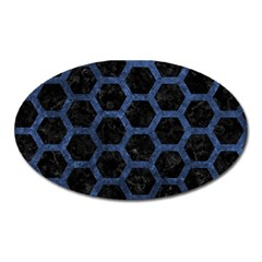 Hexagon2 Black Marble & Blue Stone Magnet (oval) by trendistuff