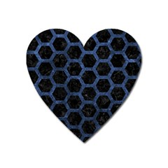 Hexagon2 Black Marble & Blue Stone Magnet (heart) by trendistuff