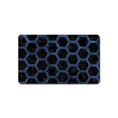 Hexagon2 Black Marble & Blue Stone Magnet (name Card) by trendistuff