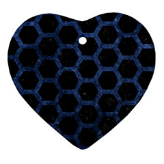 Hexagon2 Black Marble & Blue Stone Heart Ornament (two Sides) by trendistuff