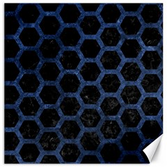 Hexagon2 Black Marble & Blue Stone Canvas 12  X 12  by trendistuff