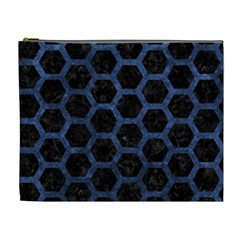 Hexagon2 Black Marble & Blue Stone Cosmetic Bag (xl) by trendistuff