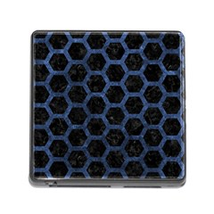 Hexagon2 Black Marble & Blue Stone Memory Card Reader (square) by trendistuff