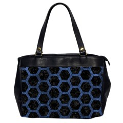 Hexagon2 Black Marble & Blue Stone Oversize Office Handbag (2 Sides) by trendistuff