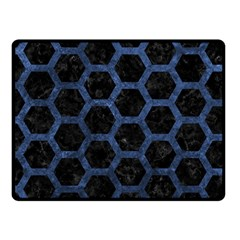 Hexagon2 Black Marble & Blue Stone Fleece Blanket (small) by trendistuff