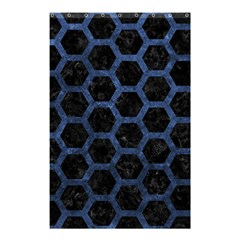 Hexagon2 Black Marble & Blue Stone Shower Curtain 48  X 72  (small) by trendistuff