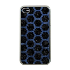 Hexagon2 Black Marble & Blue Stone Apple Iphone 4 Case (clear) by trendistuff
