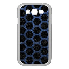 Hexagon2 Black Marble & Blue Stone Samsung Galaxy Grand Duos I9082 Case (white) by trendistuff