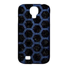 Hexagon2 Black Marble & Blue Stone Samsung Galaxy S4 Classic Hardshell Case (pc+silicone) by trendistuff