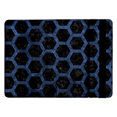 Hexagon2 Black Marble & Blue Stone Samsung Galaxy Tab Pro 12 2  Flip Case by trendistuff