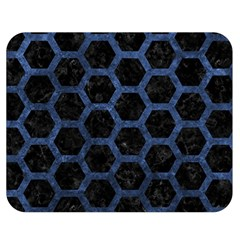Hexagon2 Black Marble & Blue Stone Double Sided Flano Blanket (medium) by trendistuff