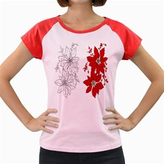 Poinsettia Flower Coloring Page Women s Cap Sleeve T Shirt
