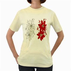 Poinsettia Flower Coloring Page Women s Yellow T-shirt by Simbadda