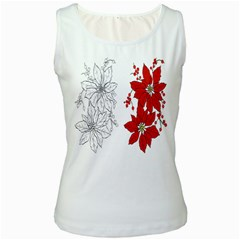 Poinsettia Flower Coloring Page Women s White Tank Top