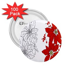 Poinsettia Flower Coloring Page 2 25  Buttons (100 Pack)  by Simbadda