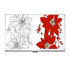 Poinsettia Flower Coloring Page Business Card Holders by Simbadda