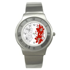 Poinsettia Flower Coloring Page Stainless Steel Watch by Simbadda