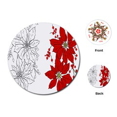 Poinsettia Flower Coloring Page Playing Cards (round)  by Simbadda