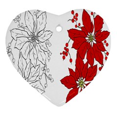 Poinsettia Flower Coloring Page Heart Ornament (two Sides) by Simbadda