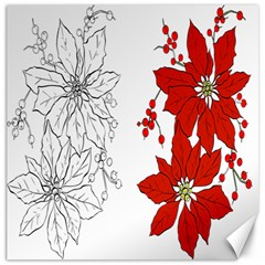 Poinsettia Flower Coloring Page Canvas 16  X 16   by Simbadda