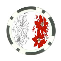 Poinsettia Flower Coloring Page Poker Chip Card Guard by Simbadda