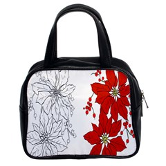 Poinsettia Flower Coloring Page Classic Handbags (2 Sides)