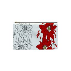 Poinsettia Flower Coloring Page Cosmetic Bag (small)  by Simbadda