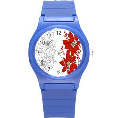Poinsettia Flower Coloring Page Round Plastic Sport Watch (s) by Simbadda