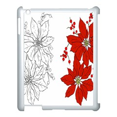 Poinsettia Flower Coloring Page Apple Ipad 3/4 Case (white) by Simbadda