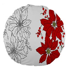 Poinsettia Flower Coloring Page Large 18  Premium Round Cushions by Simbadda
