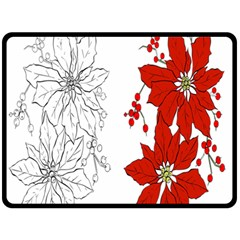 Poinsettia Flower Coloring Page Double Sided Fleece Blanket (large)