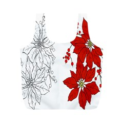 Poinsettia Flower Coloring Page Full Print Recycle Bags (m)  by Simbadda