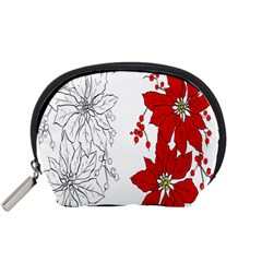 Poinsettia Flower Coloring Page Accessory Pouches (small)  by Simbadda