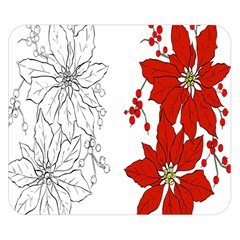 Poinsettia Flower Coloring Page Double Sided Flano Blanket (small)  by Simbadda