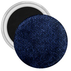 Hexagon1 Black Marble & Blue Stone (r) 3  Magnet by trendistuff