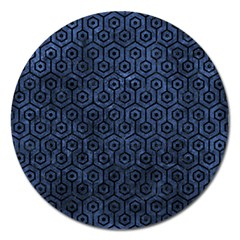 Hexagon1 Black Marble & Blue Stone (r) Magnet 5  (round)